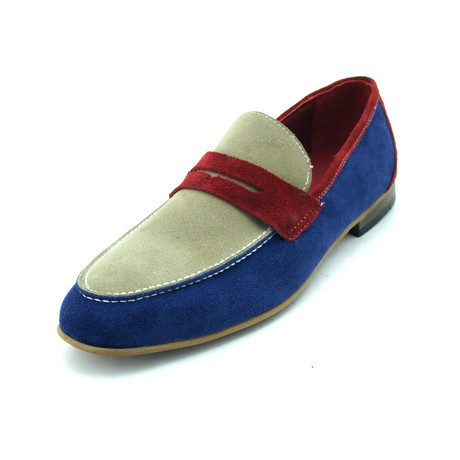 Baker Loafer // Cream + Blue + Red (Euro: 39)