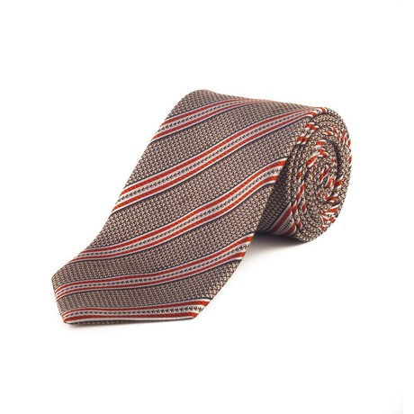 Ermenegildo Zegna // Silk Textured Striped Tie // Brown