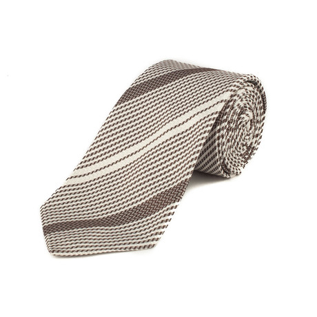 Silk Textured Stripe Tie // White