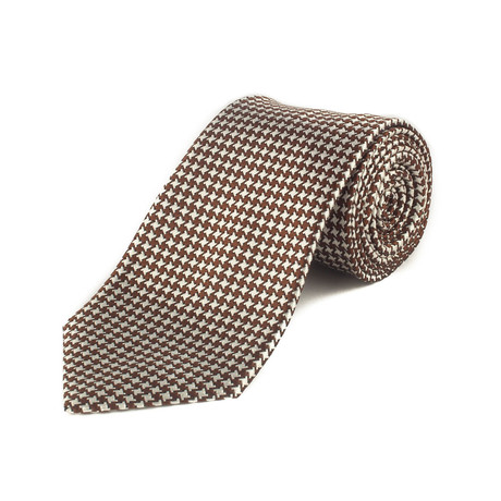 Ermenegildo Zegna // Silk Striped Patterned Tie // Brown