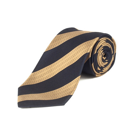 Ermenegildo Zegna // Silk Textured Stripe Tie Blue // Gold