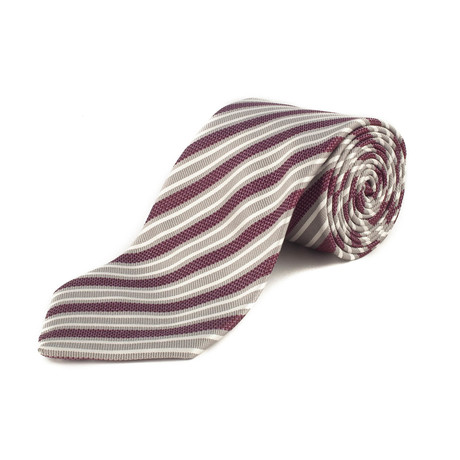 Ermenegildo Zegna Couture // Silk Striped Patterned Tie // Silver + Purple