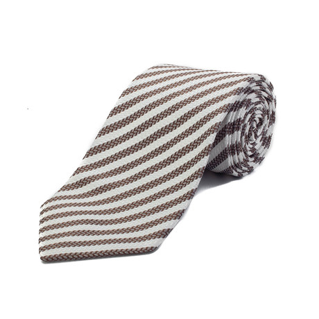 Ermenegildo Zegna // Silk Striped Tie // White + Brown