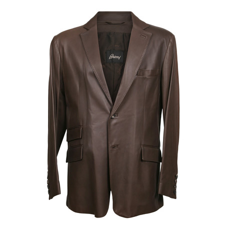 Leather Button Blazer // Brown (XS)