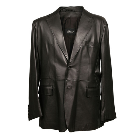 Leather Button Blazer // Black (XS)