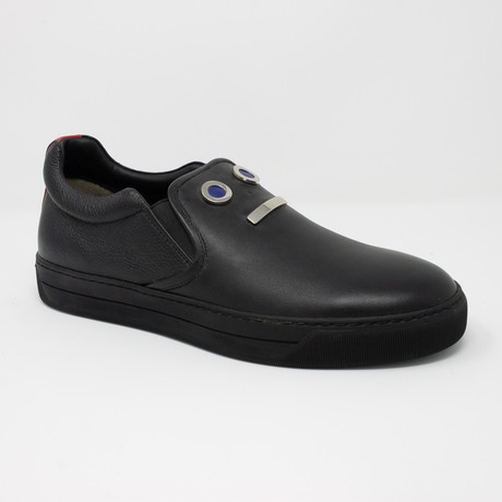 Appliqué Face Slip-On Sneakers // Black (US: 5)