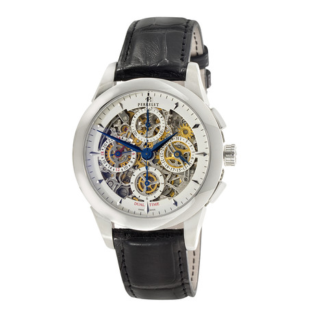Perrelet Skeleton Chronograph Date Dual Time Automatic // A1010/8 // New