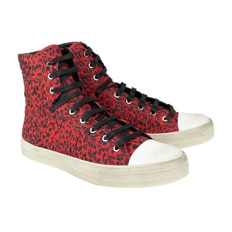 Amiri // Sunset Vintage Glitter Leopard Sneakers // Red (US: 6)