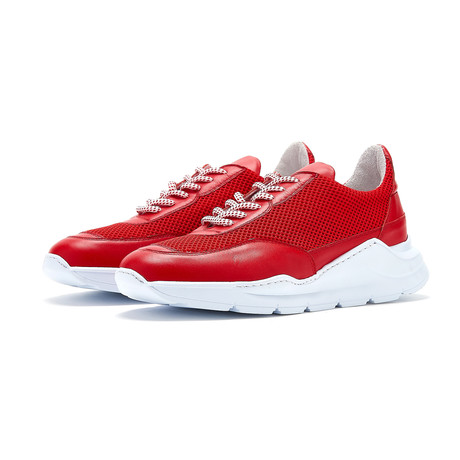 Soho Grit // Carlisle Sneaker // Red + White (Euro: 36)