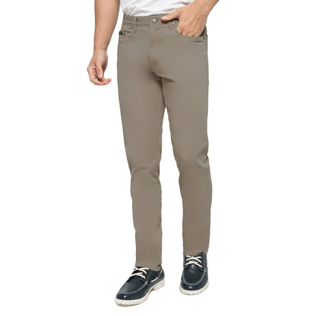 Travis 5-Pockets Stretch Chinos // Green Olive (30WX32L)
