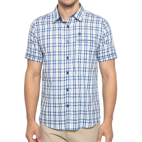 Gingham Check Cotton T-Shirt // Blue + White (S)