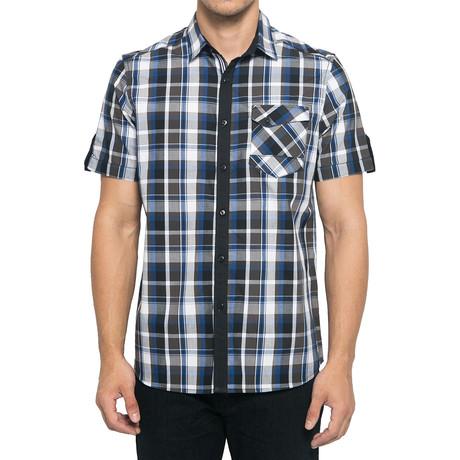 Check Cotton Short Sleeve Shirt // Navy + Dark Gray (S)