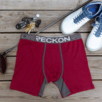 Mid-Rise Boxers // Burgundy + Heather Charcoal Gray (S)