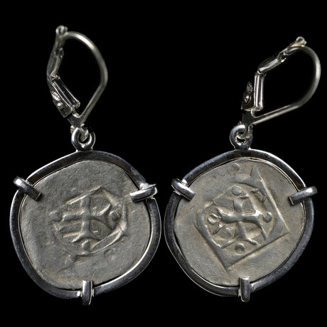 Silver Heller Of Hall Coin Earrings // Black Plague