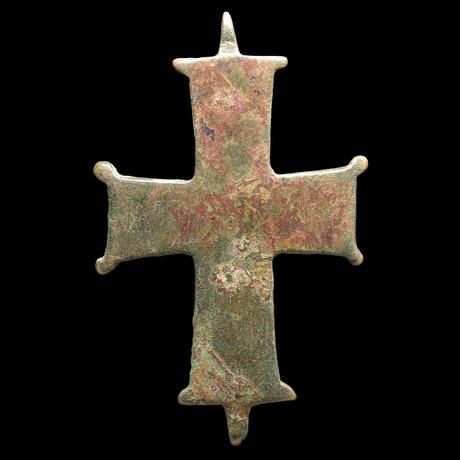 Medieval Bronze Cross Pendant // C. 8th-11th Century AD