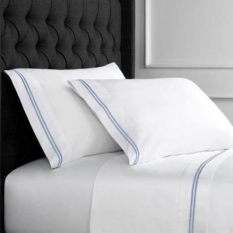 2 Stripe EMB Sheet Sets // 600 Thread Count // Blue + White (Twin)