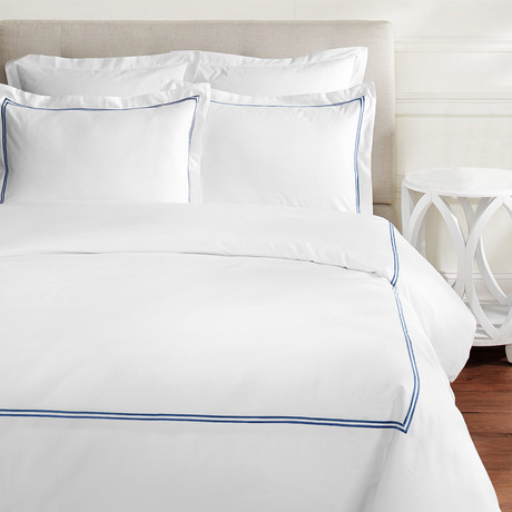 2 Stripe Embroidered Duvet Set // 600TC // Navy (Full/Queen)