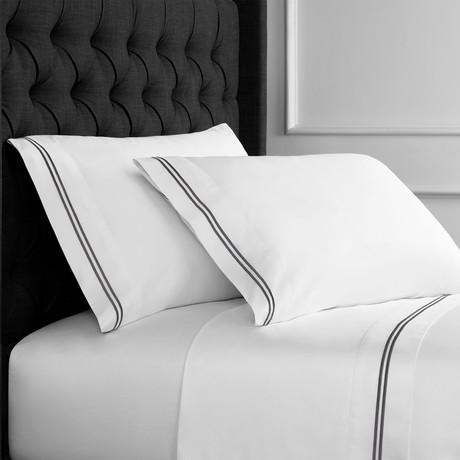 2 Stripe EMB Sheet Sets // 600 Thread Count // Grey + White (Full)