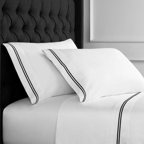 2 Stripe EMB Sheet Sets // 600 Thread Count // Black + White (Twin)