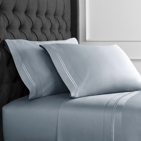 Border Strip Embroidered Sheet Set // 600TC // Blue (King)