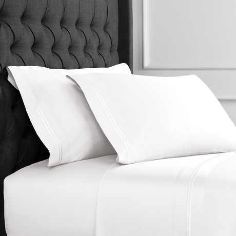 Border Strip Embroidered Sheet Set // 600TC // White (Full)