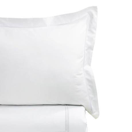 Border Strip Embroidered Duvet Set // 600TC // White (Full/Queen)