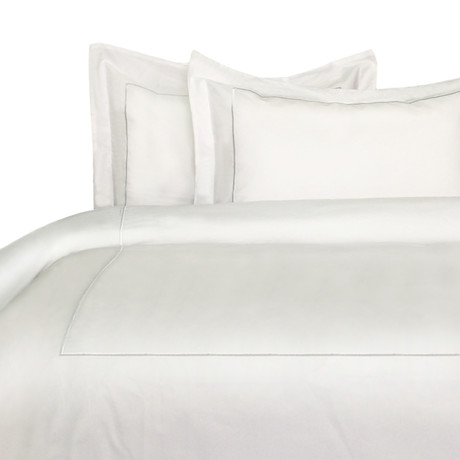 Single Marrow Stripe Duvet Set // 300 Thread Count // White + White (Full/ Queen)