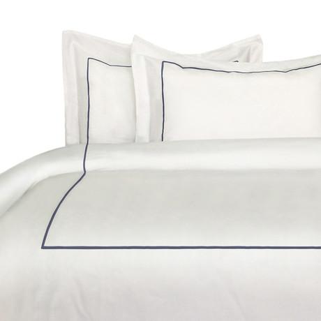 Single Marrow Stripe Duvet Set // 300 Thread Count // Navy + White (Full/ Queen)