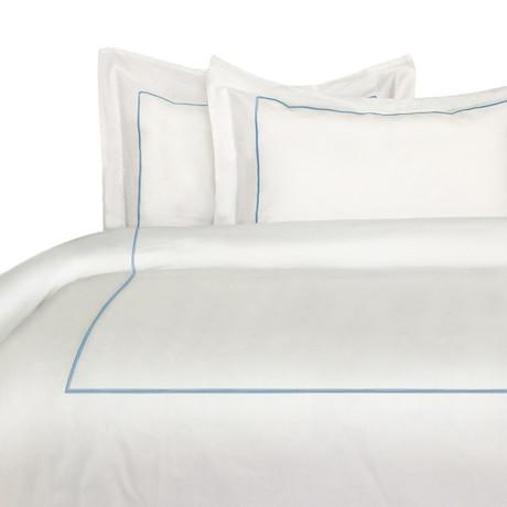 Single Marrow Stripe Duvet Set // 300 Thread Count // Blue + White (Full/ Queen)
