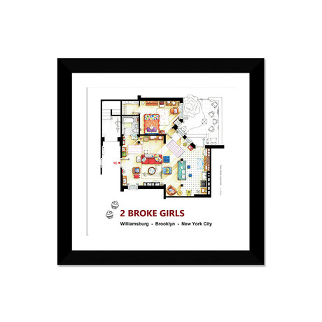 "Apartment From 2 Broke Girls (16""W x 16""H x 1""D)"
