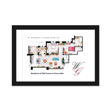 "Apartment From Will & Grace (24""W x 16""H x 1""D)"