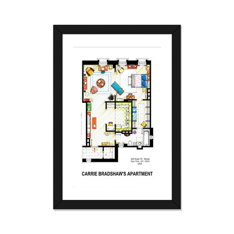 "Apartment Of Carrie Bradshaw From Sex & The City (16""W x 24""H x 1""D)"