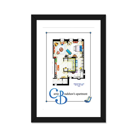 "Apartment Of Carrie Bradshaw From Sex & The City // Poster Version (16""W x 24""H x 1""D)"