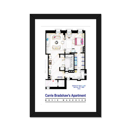 "Apartment Of Carrie Bradshaw From Sex & The City Film (16""W x 24""H x 1""D)"