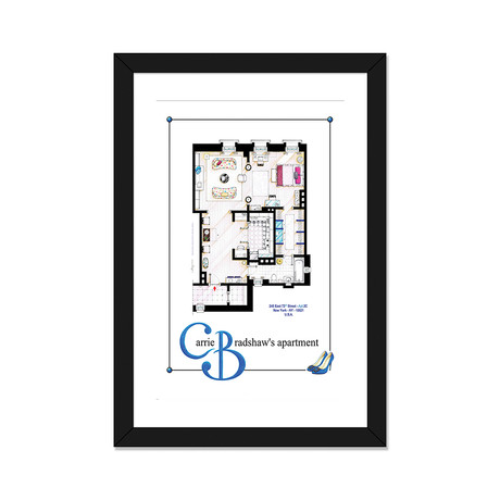 "Apartment Of Carrie Bradshaw From Sex & The City Film // Poster Versiom (16""W x 24""H x 1""D)"