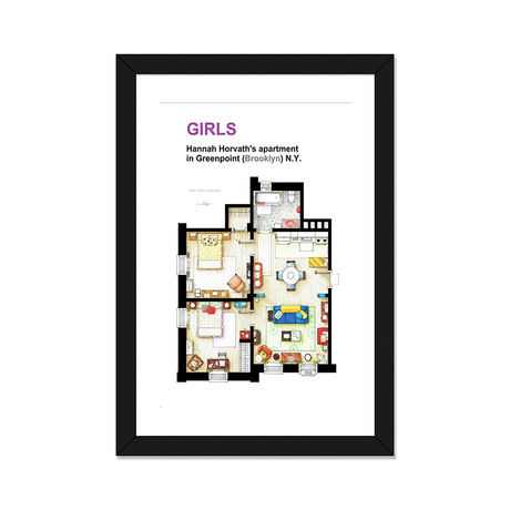 "Apartment Of Hannah Horvath From Girls (16""W x 24""H x 1""D)"
