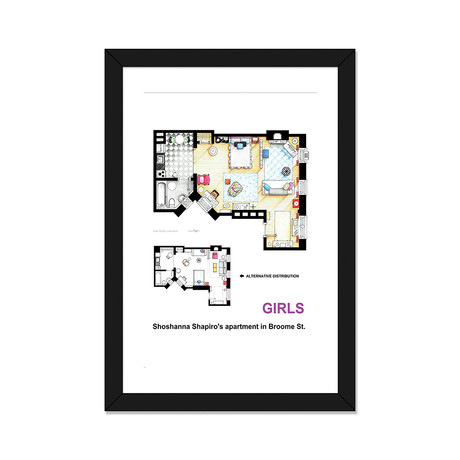 "Apartment Of Shoshanna Shapiro From Girls // Alternative Version (16""W x 24""H x 1""D)"