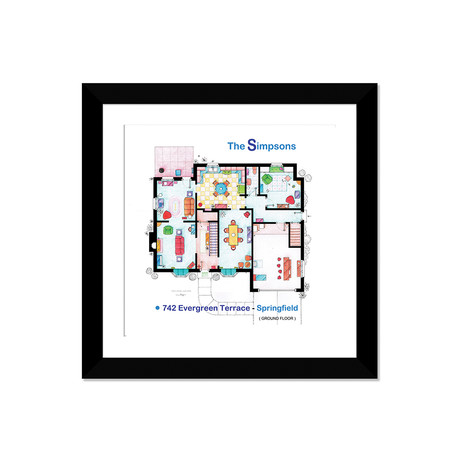 "House From The Simpsons // Ground Floor (16""W x 16""H x 1""D)"