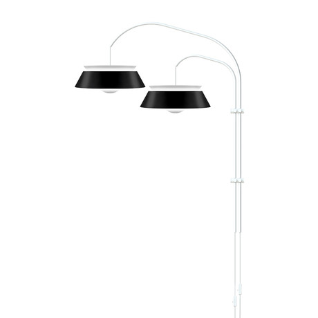 Cuna // 2-Light Swing Arm Wall Lamp (Black + White)