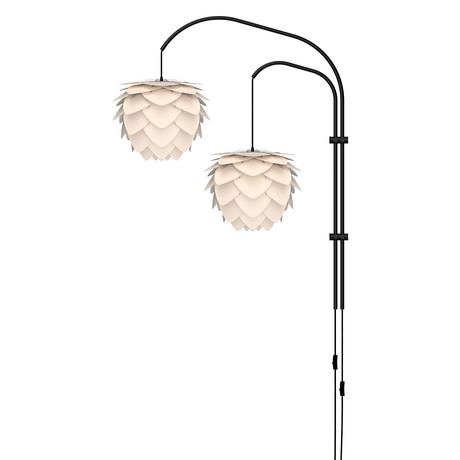 Aluvia Mini // 2-Light Swing Arm Wall Lamp (Pearl)