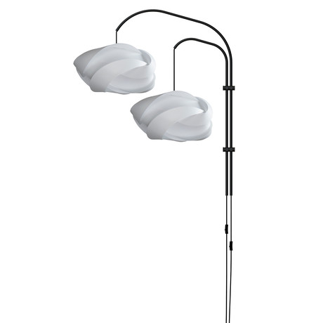 Ribbon Medium // Double Swing Arm Wall Lamp (White)