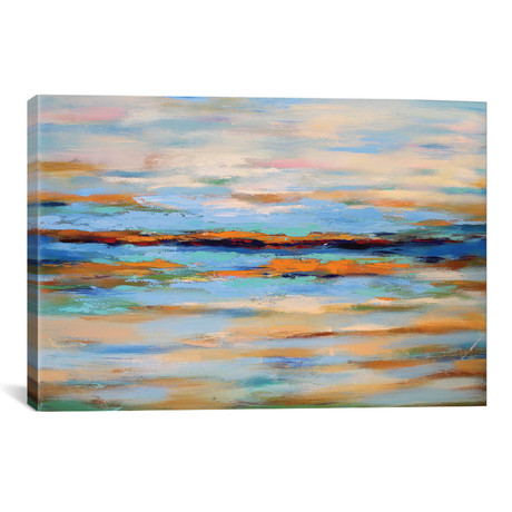 "Abstract Seascape by Radiana Christova (26""W x 18""H x 0.75""D)"