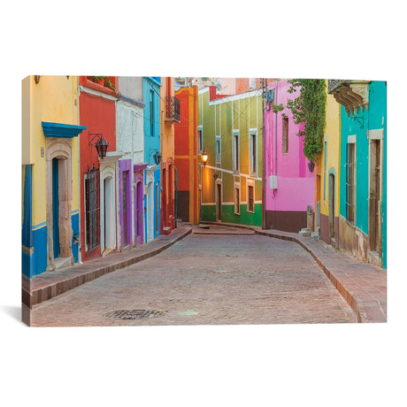 "Colorful Streetscape, Guanajuato, Mexico // Don Paulson (26""W x 18""H x 0.75""D)"