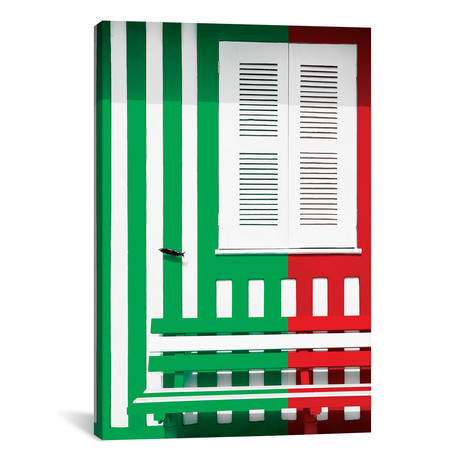 "Colorful Facade with Green and Red Stripes // Philippe Hugonnard (18""W x 26""H x 0.75""D)"