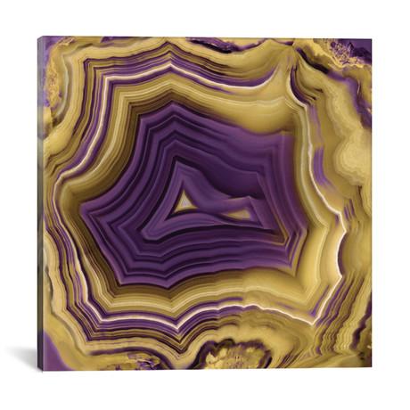 """Agate In Purple & Gold II // Danielle Carson (18""""W x 18""""H x 0.75""""D)"""