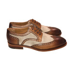 Wing Tip Two-Tone Lace Up // Brown + Beige (US: 7.5)