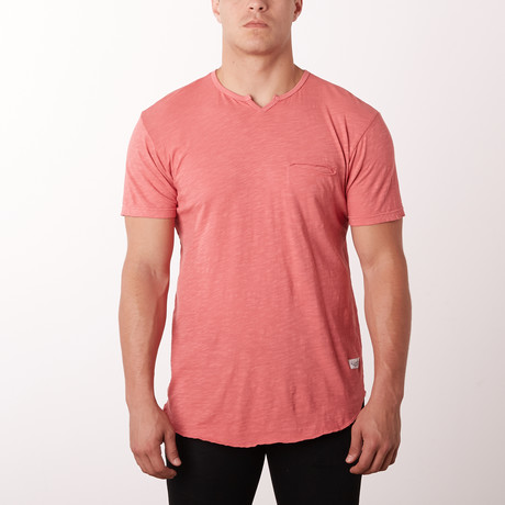 Mamba Notch Neck Fashion Tee // Dust Red (S)