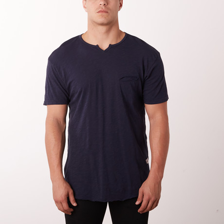 Mamba Notch Neck Dust Fashion Tee // Navy (S)