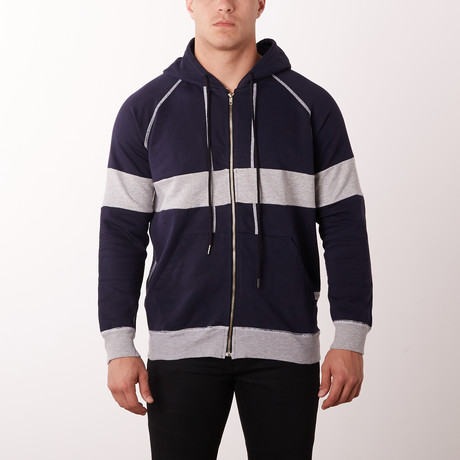 New Modern Zip Hoodie // Navy + Grey (S)