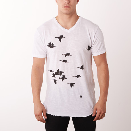 Birds Graphic Tee // White (S)